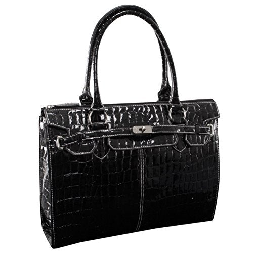 McKleinUSA FRANCESCA 11105 Black Faux Patent Croco Leather Ladies' Business Tote