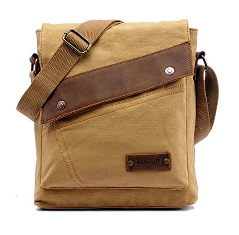 Men's Vintage Canvas Shoulder Bag School Backpack Casual Messenger Daypack Crossbody Rucksack -