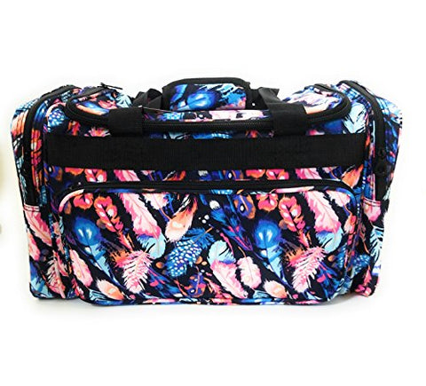 Ever Moda JP Luggage Camp Gym Dance Cheer Sports Tote Duffel Bag Blue Feather 20""