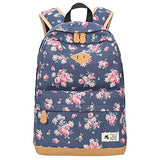 ABage Cute Casual Bag Floral Canvas Backpack College Book Bag Travel Daypack, Dark Blue