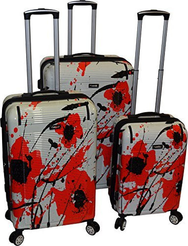 Kemyer 550 Plus TSA Lock Lightweight 3-PC Expandable Hardside Spinner Luggage Set (Poppy Seed)