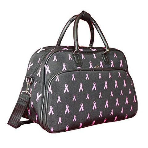 "World Traveler 21"" Carry-On Shoulder Tote Duffel Bag, Pink Ribbon, One Size"