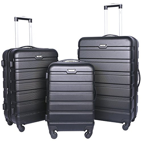 Travelers Club Luggage 3-Piece Expandable Hardsided 2-in-1, Black Luggage Set One Size