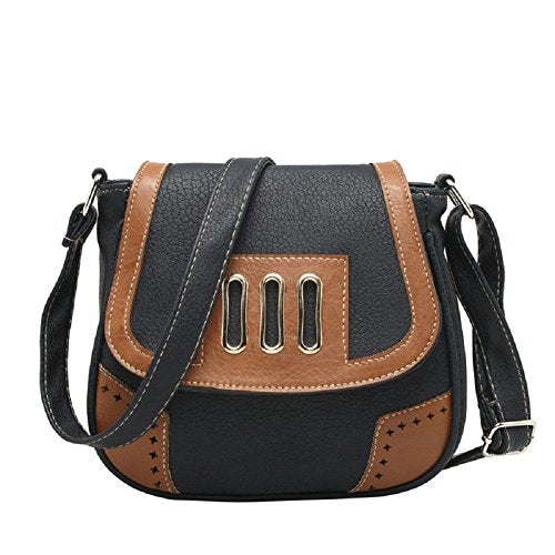 BIBITIME Hollow Out Casual Shell Bags Beach Travel School Campus PU Flat Cross body Shoulder Bag Handbag Messenger Bag Travel Bag for Holiday Back to School University College Campus Bag Shopping Hobo (LHW : 7.87 7.09 3.54 IN, Black)