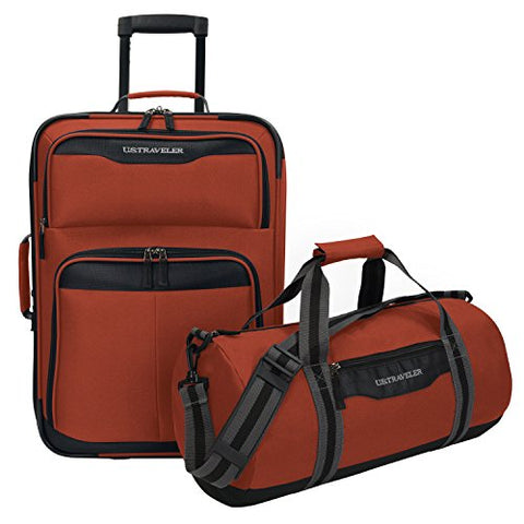 U.S Traveler Hillstar Carry-On Expandable Rolling Luggage Set - Salmon (17-Inch And 21-Inch)