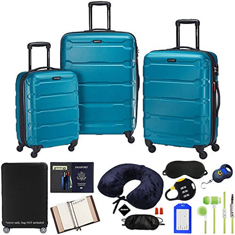 Samsonite Omni 3-Piece Nested Spinner Set - Caribbean Blue with Accessory Kit