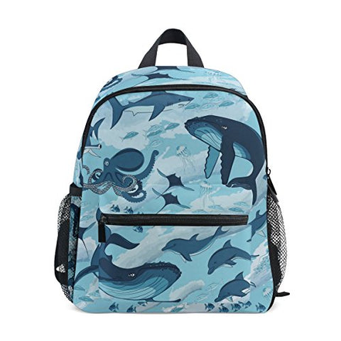 GIOVANIOR Marine Shark Whale Octopus Dolphin Jellyfish Travel School Backpack for Boys Girls Kids