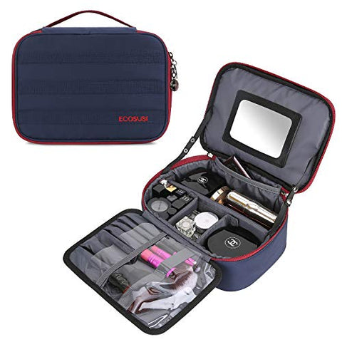 ECOSUSI Travel Makeup Bag Cosmetic Bag Organizer with Removable Mirror and Adjustable Dividers,