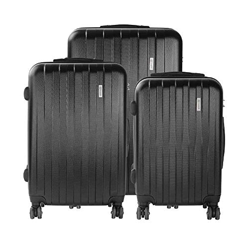 Bugatti 3 Piece Hard Case Luggage, Black