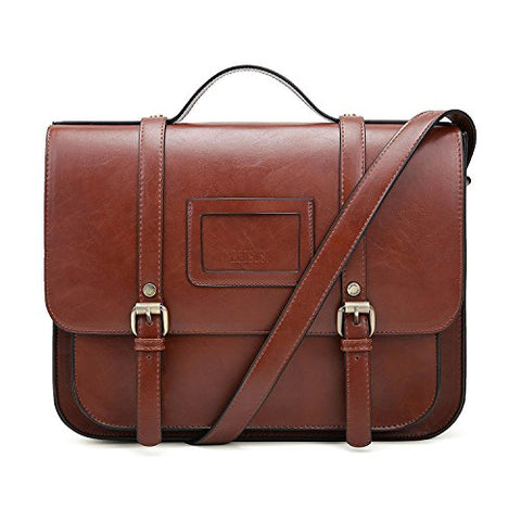 ECOSUSI Women Briefcase Vintage Crossbody Messenger Bag PU Leather Satchel Purse, Coffee