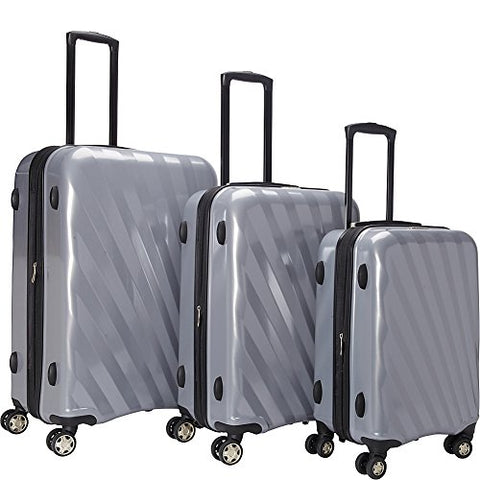 Mcbrine Luggage A747 Expandable 3Pc Luggage Set (Silver)