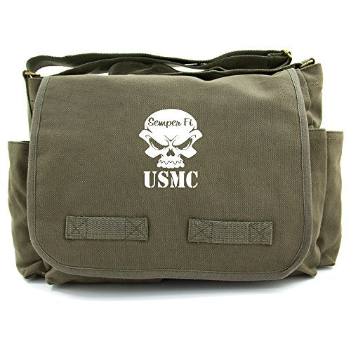 USMC Semper Fi Skull Marine Corp Army Canvas Messenger Shoulder Bag in Olive