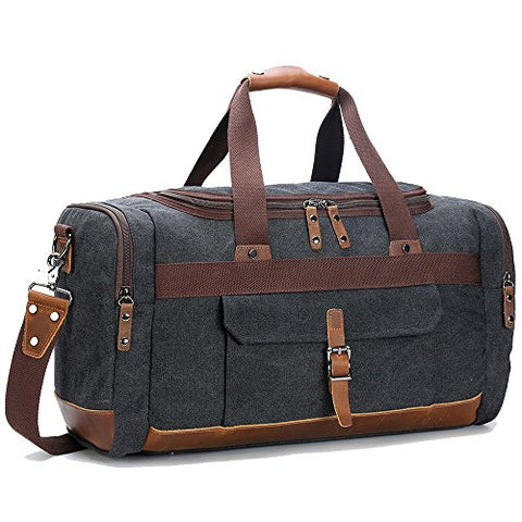 BLUBOON Travel Duffel Bag Canvas Weekender Overnight Carry-on Luggage with Genuine Leather Trim for