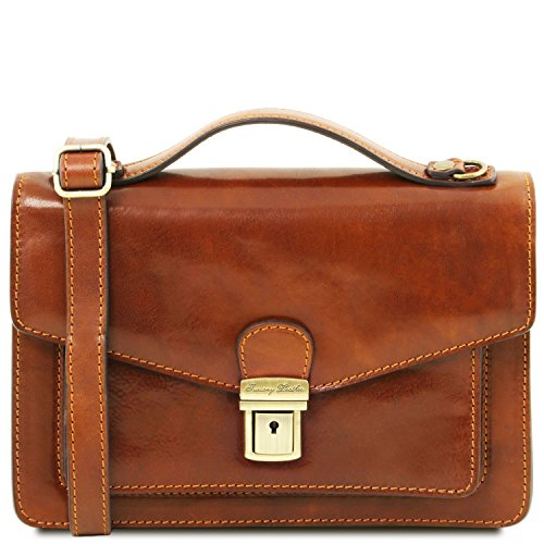 Tuscany Leather Eric Leather Crossbody Bag Honey Leather bags for men