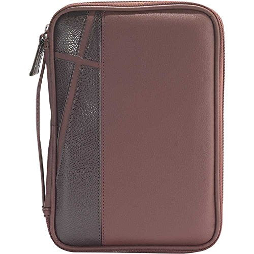 Man of God Two-Tone Brown Cross Large 10 x 7 inch Faux Leather Men's Bible Cover Case