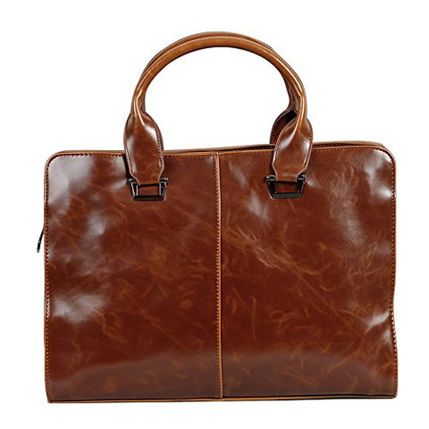 Berchirly Mens PU Leather Computer Business Laptop Briefcase Handbag For Men Coffee