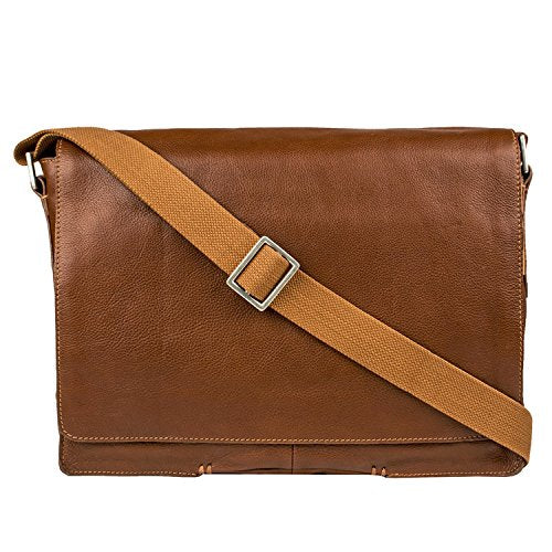 HIDESIGN Fred Leather Business Laptop Messenger Cross body Bag, Tan