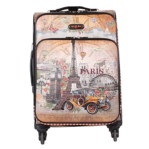 "Nicole Lee Women's 20"" Carry-on 4 Wheels Luggage Camel Eiffel Tower Paris Print, Barroquil Europe"