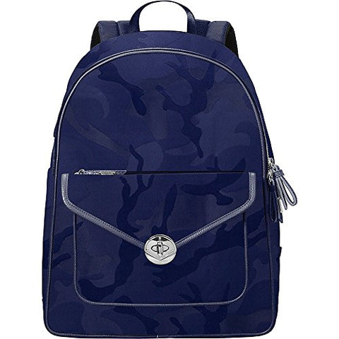 Baggallini Granada Laptop Backpack with Rfid, Navy Jacquard