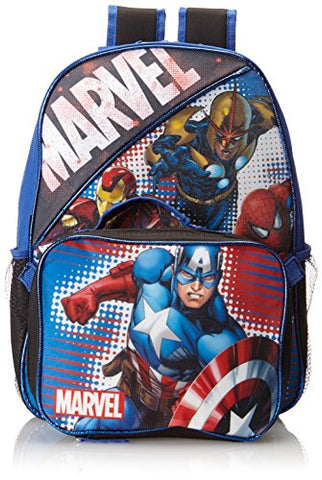 Marvel Little Boys' Heroes Backpack with Lunch Box, Multi, One Size