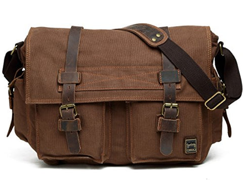 Berchirly Men Outdoor Travel Canvas Messenger Crossbody Bag for 14.7Inch Laptop