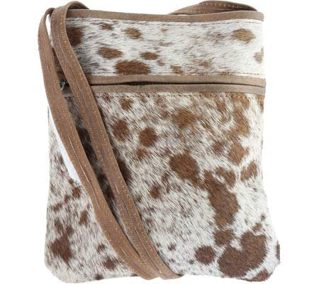 Sharo Leather Bags Little Animal Print Cross Body Bag (Brown And White)