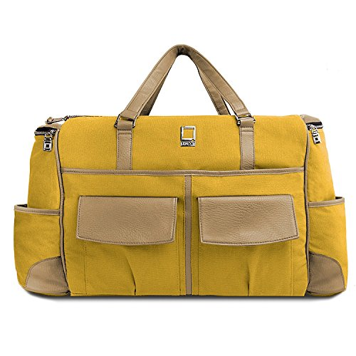 "Lencca Alpaque Duffle Luggage Laptop Shoulder Bag for up to 15.6"" Laptop (Mustard Yellow / Cool Camel)"