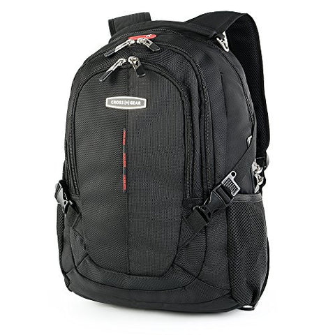 CrossGear Laptop Backpack with Combination Lock- Fits Most 17.3 Inch Laptops and Tablets CR-9001XLBK X-Large Black