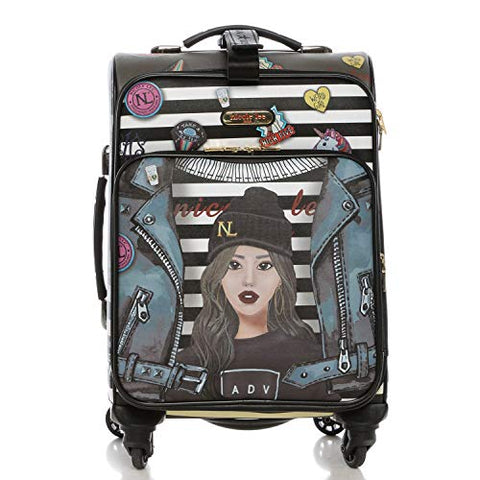 "NICOLE LEE USA Women's 18"" Graphic White Carry-on Luggage, 4 Spinner Wheels, Paola is Tomboy"