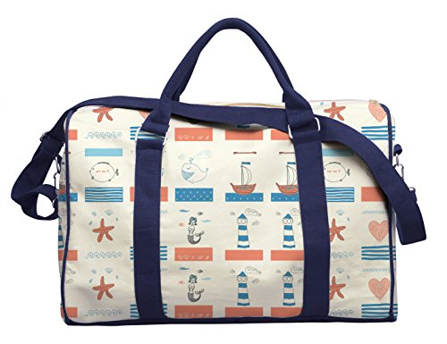 Cute Retro Sea Objects Printed Canvas Duffle Luggage Travel Bag Was_42