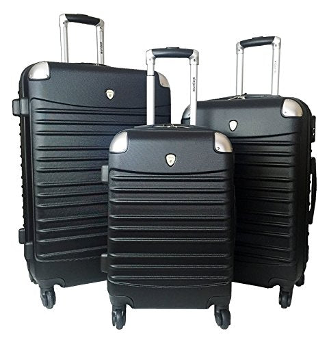 3Pc Luggage Set Hardside Rolling 4Wheel Spinner Carryon Travel Case Abs Black
