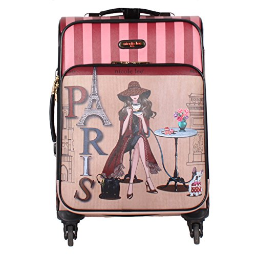 "Nicole Lee Women'S 20"" 4 Wheels Expandable Carry-On Luggage Paris Coffee Time Print, Lonely In"