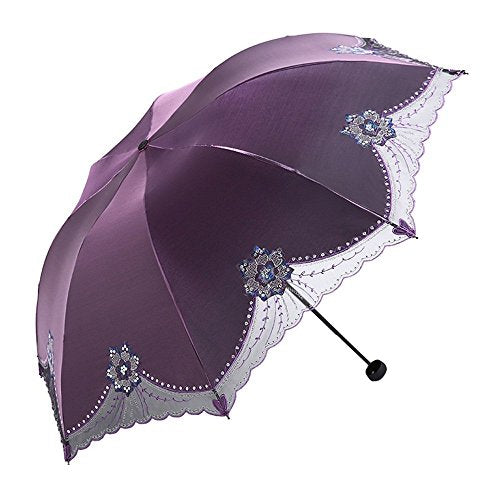 HOMEE Ultra-dark vinyl sun umbrella anti-ultraviolet sun umbrella foldable embroidery rain and rain