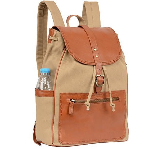 Banuce Canvas Leather Backpack for Men Women Outdoor Rucksack Casual College School Daypack Purse