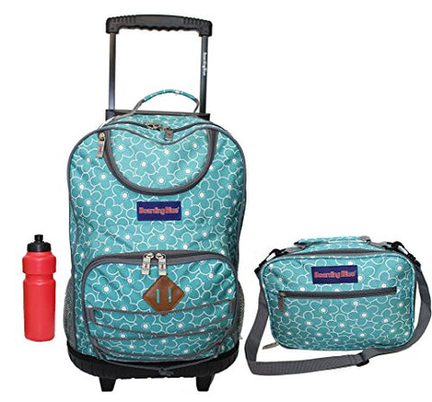 Girl's Rolling Backpack with Matching Lunch Case + Bonus (Spring Blue)