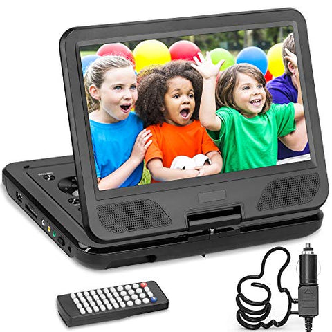 "DR. J 12.5"" Portable DVD CD Player 10.5"" HD Swivel Screen with 5 Hours Rechargeable Battery, Region-Free Video Player with Remote Control and AV Cable Sync TV with Car Charger, Red Color in Stock"