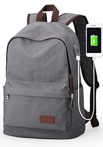 Upoalker Canvas Backpack with USB Charging Port for School Bookbag Travel Daypack for Fits up to 15.6 inch Laptop (Gray(USB port))