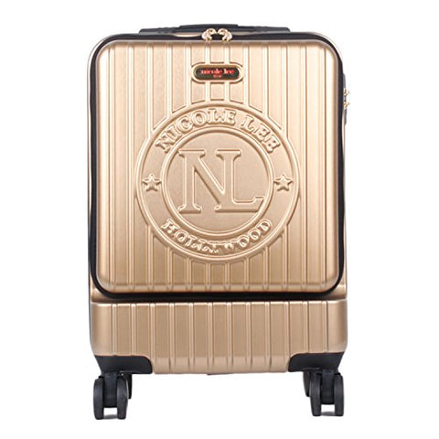 Nicole Lee Women'S Carry Hard Shell Travel Luggage, Laptop Compartment Rolling Wheels, Gold