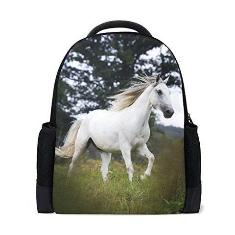 ColourLife Book bag White Horse In Wild Backpack School Bag Casual Travel Daypack