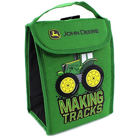 John Deere Boys' Making Tracks Foldable Lunch Bag, Green
