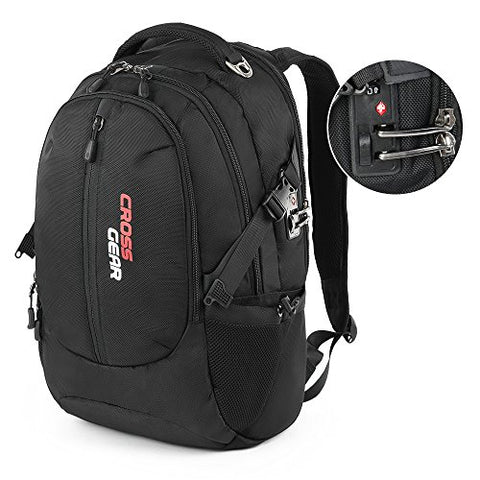 CrossGear Backpack with Lock Business Casual Large College School Daypack Laptops and Tablets Bag CR-1590BK Black