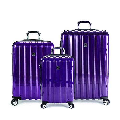 "Delsey Luggage Helium Aero 3 Piece Set (21""/25""/29"") Lightweight Spinner (Plum)"