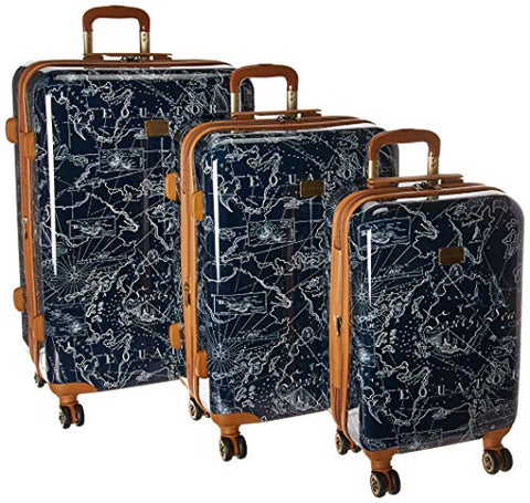 Tommy Bahama Trunk Bay 3 Piece Hardside Expandable Spinner Set, Navy Map Print