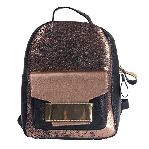 Damara Womens Shiny Snakeskin-pattern Faux Leather Lines Large Backpack,Bronze
