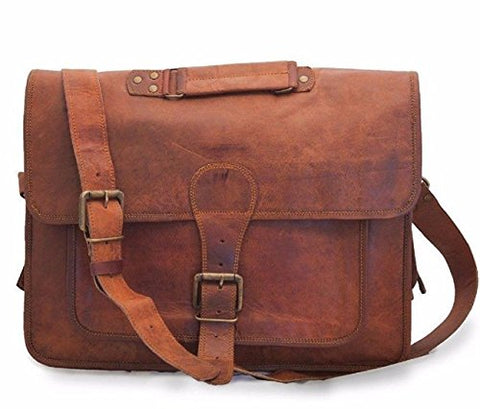 "Vintage Leather Laptop Bag 16"" Messenger Handmade Briefcase Crossbody Shoulder Bag"