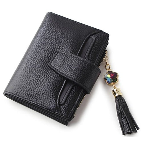 BOBILIKE Genuine Leather Bifold Wallet Small Coin Purse Card Holder ID Window Wallets for