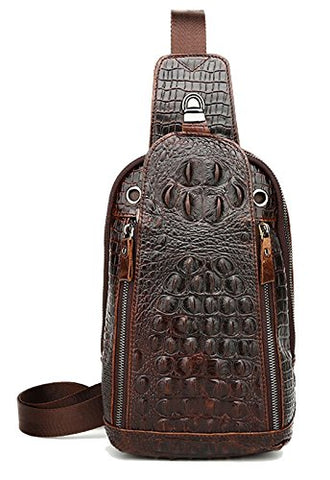 Sealinf Mens Crocodile Embossed Leather Chest Crossbody Bag Travel Sling Bag (Deep Brown)