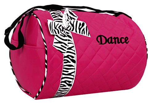 Dance bag - Quilted Zebra Duffle in Hot Pink