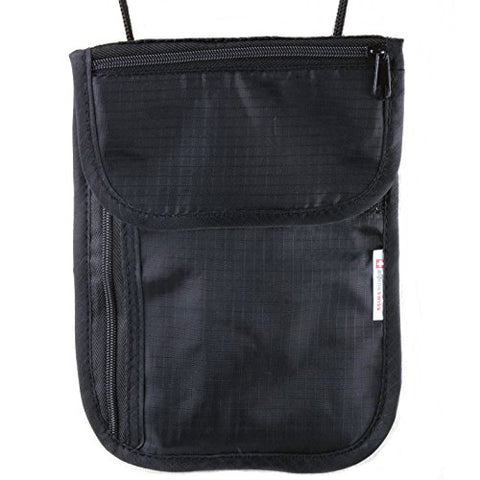 Alpine Swiss Travel Wallet Neck Pouch Under Clothing Security Stash Bag Black