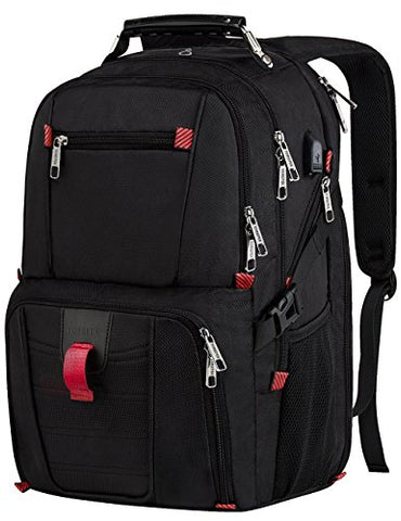 Travel Laptop Backpack,17.3 TSA Durable College School Computer Bag w/ USB Charging Port/Headphone Hole for Men Women,Water Resistant Large Capacity Backpacks Fit Most 17-Inch Laptops & Notebook,Black